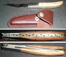 Rare NEUF Couteau De Poche Pliant, Avec étui Cuir, Style Laguiole, Plaquettes Bois, Lame Inox - Tools