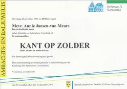 NL.- KANTKLOSSEN. Tentoonstelling KANT OP ZOLDER. Oude, Nieuwe En Moderne Kant. Mw. Annie Jansen-van Meurs.Voorschoten - Affiches
