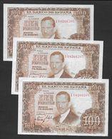ESPAGNE - 3 Billets De 100 Pesetas De 1953 - [ 3] 1936-1975 : Regency Of Franco