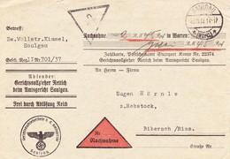 Saulgau 1937. Nachnahme Amtsgericht, Dienstpost - Deutschland
