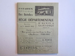 Publicité Dépliant Touristique Horaires Des Autobus Aunis Saintonge Saintes Royan Cozes Talmont Cognac - Dépliants Turistici