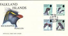 Falklandinseln  Mi.Nr. 453 - 456 -   FDC    Felsenpinguin.  1986 - Falklandinseln