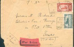 MAROC LETTRE FM PAR AVION CASABLANCA + DAGUIN FAITES VOS PAIEMENTS PAR CHEQUE POSTAL 1926 POUR TOURS B/ TB - Maroc (1891-1956)