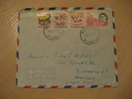 BUKAVU 1956 To USA 4 Stamp On Damaged Cover Belgish CONGO Kinshasa Belga Belgium - 1947-60: Lettres