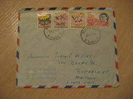 BUKAVU 1956 To USA 4 Stamp On Damaged Cover Belgish CONGO Kinshasa Belga Belgium - Belgisch-Kongo