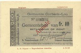 Corbeek-Loo Gemeentebon Van Fr.10  (7061) - Bierbeek