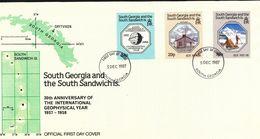 Süd-Georgien Und Die Süd-Sandwich-Inseln - Mi.Nr.  165 -167  -  FDC  30. Jahrestag  1987 - Südgeorgien