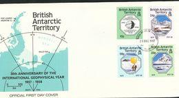 Britische Gebiete In Der Antarktis  - Mi.Nr. 144 - 147  - FDC  30. Jahrestag Des Internationalen Geophysikalischen Jahre - FDC