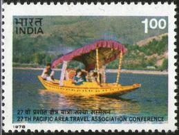 INDIA STAMPS, 23 JAN 1978, TOURISM, BOAT, MNH - Inde