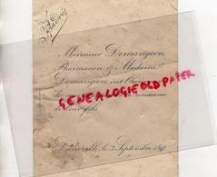 54- LUNEVILLE- RARE FAIRE PART NAISSANCE  M. DEMANGEON PHARMACIEN- PHARMACIE-LE 3 SEPTEMBRE 1897 - Naissance & Baptême