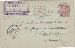 Carte Commerciale 1905 / Entier / L. BERDIN / Quincaillerie / 71 Autun / CAD Ambulant Etang Epinac Chagny - Maps