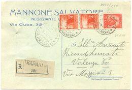 1948 DEMOCRATICA L. 4 COPPIA + 10  TARIFFA C.P. RACC. 23.6.48 BELLA AFFRANCATURA MONOCROMA ROSSA (8882) - 6. 1946-.. Repubblica