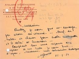 Carte Commerciale 1934 / Vve LOUVIOT / Ebenisterie Ameublement / 78 Versailles - Maps