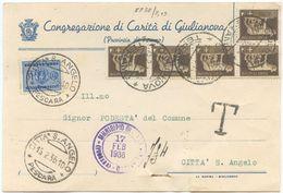 1936 SEGNATASSE C. 10 SU CARTOLINA GIULIANOVA (FERMO) CON IMPERIALE C. 5x5  A CITTÀ S. ANGELO – OTTIMA QUALITÀ (8838) - 1900-44 Vittorio Emanuele III