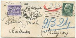 1941 IMPEIALE C. 25 Su BUSTINA 10.5.41 A CASTIADAS (COLONIA PENALE) TASSATA IN ARRIVO C. 50 – INTERESSANTE DESTINAZIONE - Storia Postale
