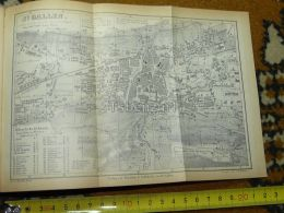 St. Gallen Switzerland Map Karte 1892 - Landkarten