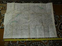Lac Leman Neuchatel Zürich Sion Schaffhausen Bazel Luzern Bern Switzerland Map Karte 1892 - Landkarten