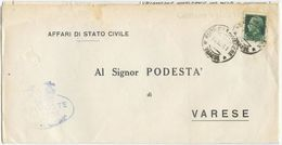 1941 AFFRANCATURA MECCANICA VARESE 0,05 PIEGO 10.12.41 RISPEDIZIONE DIFFORME IMPERIALE C. 25 (8334) - Storia Postale