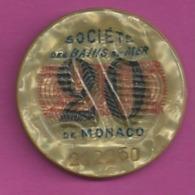 JETON CASINO SOCIETE DES BAINS DE MER DE MONACO 20 Fr Numero 212250 Diametre 30mm Port 1 Euro N17 - Casino