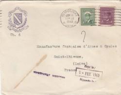 ENVELOPPE  DU SEMINAIRE DE RIMOUSKI QUEBEC POUR MANUFRANCE SAINT ETIENNE 1949 - Canada