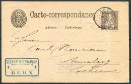 1878 Switzerland Carte Correspondence Bechet Meyerr & Weiss, Bern - Germany - 1862-1881 Helvetia Assise (dentelés)