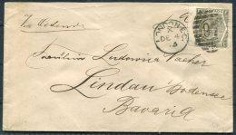 1873 GB QV 6d 'HUTH' Perfin Cover London EC Duplex - Lindau, Bavaria Germany - 1840-1901 (Victoria)