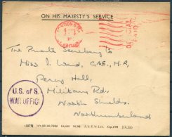 1951 GB OHMS Official War Office Postcard 'U.S. Of S. War Office' Cachet - Miss Wand MP, North Shields - 1902-1951 (Kings)