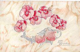 1 Er Avril - Poisson - Pensées - Fleurs - Ruban De Tissu - 1er Avril - Poisson D'avril