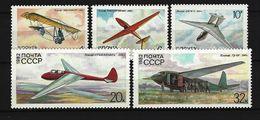 SOWJETUNION - Mi-Nr. 5202 - 5206 Segelflugzeuge Postfrisch (3) - Flugzeuge