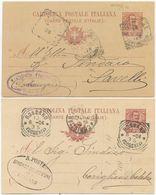 1904/6 CARTOLINE POSTALI FLOREALE C. 10 (03 E 05) SU CARTONCINI DIFFERENTI USATE  (8330) - Storia Postale