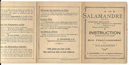 LA SALAMANDRE  -  INSTRUCTION Pour Assurer Le Bon Fonctionnement - Technical