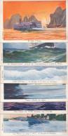CPA Bateaux Lot De 6 Cartes Compagnie Ligue Maritime Coloniale Illustrateur Haffner - Paquebots