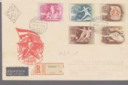 SOCCER -  HUNGARY -  1950 - SPORTS STAMPS ON REGISTERED COVER TO TEHERAN - Soccer