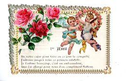 1 Er Avril - Carte Petit Format - Gaufrée - Collage - Anges - Couronne - Fleurs - De Votre Cœur Pour Faire En Ce Jour... - 1er Avril - Poisson D'avril