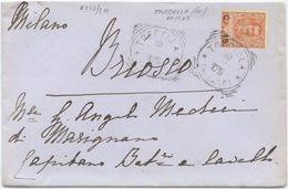 FLOREALE SOVRAST. C. 15 TONDO RIQUADRATO TRECELLA (MILANO) 10.11.05 BUSTA A BRIOSCO  (8227) - 1900-44 Vittorio Emanuele III