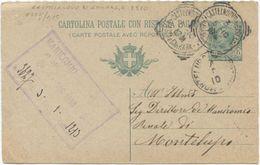 1901 CART.  POST.  LEONI  C. 5 TONDO RIQ. CASTELNUOVO DI GARFAG.A (MASSA E CARRARA) 3.5.10 A MONTELUPO (8228) - 1900-44 Vittorio Emanuele III