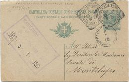 1901 CART.  POST.  LEONI  C. 5 TONDO RIQ. CASTELNUOVO DI GARFAG.A (MASSA E CARRARA) 3.5.10 A MONTELUPO (8228) - Storia Postale