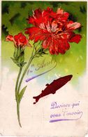 1 Er Avril - Devinez Qui Vous L'envoie - Légèrement Gaufrée - Collage - Poisson - Fleur - 1er Avril - Poisson D'avril