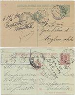 1914/8 CARTOLINE POSTALI CON RISPOSTA PAGATA LEONI C. 5 E 10 USATE  DA CIRO' E MONTORO INFERIORE (8829) - 1900-44 Vittorio Emanuele III