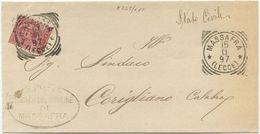 1897 UMBERTO C. 10 TONDO RIQUADRATO MASSAFRA (LECCE) 15.11.97 SU PIEGO A CORIGLIANO (8223) - Storia Postale