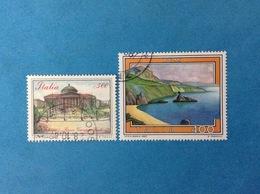 1987 ITALIA FRANCOBOLLI USATI STAMPS USED - PALERMO PIAZZA GIUSEPPE VERDI + TURISTICA PALMI - 1981-90: Usados