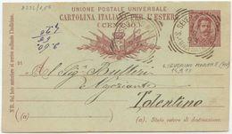 1893 CART. POSTALE ESTERO UMBERTO C. 10 TONDO RIQUADRATO S. SEVERINO MARCHE (MACERATA) 14.9.93 (8221) - 1878-00 Umberto I