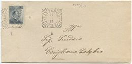 1913 MICHETTI C. 15 DENT. SPOSTATA ANNULLO TONDO RIQUADRATO LATTARICO (COSENZA) 14.1.13 A CORIGLIANO (8219) - Storia Postale