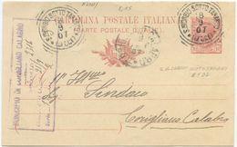 1907 CART.  POSTALE LEONI C. 10 TONDO RIQUADRATO S. GIORGIO SOTTO TARANTO (LECCE) 8.9.07 A CORIGLIANO (8220) - Storia Postale
