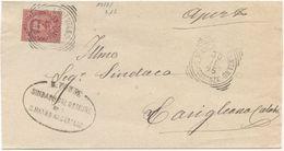 1895  UMBERTO C. 20 TONDO RIQUADRATO S. MARCO ARGENTANO (COSENZA) 30.11.95  SU PIEGO A CORIGLIANO (8217) - Storia Postale
