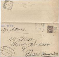 1902 FLOREALE C. 1 SU PIEGO Timbri TONDO RIQUADRATI Di AVIANO E  PIAZZA ARMERINA MESE LETTERE NON CONOSCIUTO (8208) - Storia Postale