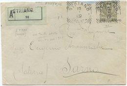 1919 FLOREALE C. 45 ISOLATO BUSTA RACC. 10.1.19 ANNULLO TONDO RIQU. DI STRIANO (CASERTA)  ARRIVO FRAZIONARIO SARNO (8211 - 1900-44 Vittorio Emanuele III
