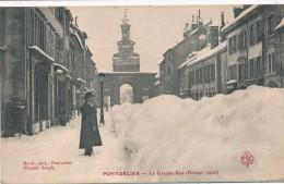 CPA 25 PONTARLIER La Grande Rue Février 1906 - Pontarlier