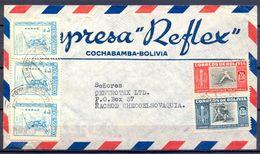 "1952 , BOLIVIA , SOBRE COMERCIAL , EMPRESA "" REFLEX "" , CIRCULADO ENTRE COCHABAMBA Y NÁCHOD - Bolivia"