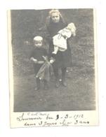 WAREMME 1912 Photo Carte ( RECOUPEE ) De 2 Enfants, Poupée, Doll (829) - Borgworm
